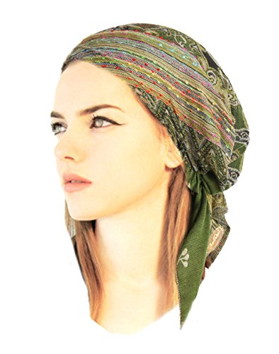 [Boho Chic Pre-tied Headwear Adjustable Ties Soft Pashmina Cashmere Ethnic Print Collection (Forest green short -] (Ethnic Hats)