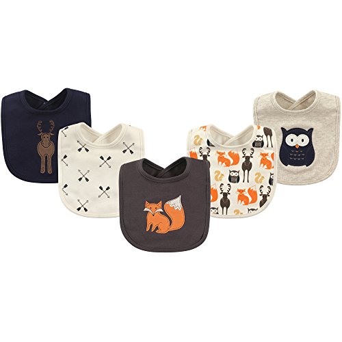 Hudson Baby Baby Cotton Drooler Bib, 5 Pack, Woodland Creatures, One Size