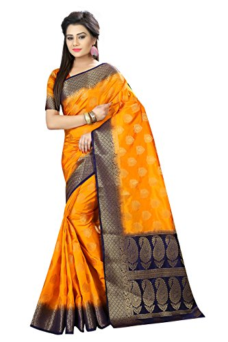 Designer Sarees Woven Work Banarasi Art Silk Saree for women With Unstitched Blouse Piece (Yellow 1)