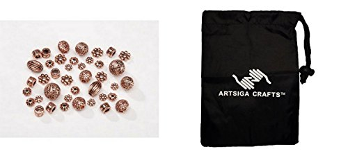 Beads Copper Darice (Darice Beads Metal Spacer Beads Cast Assorted Copper (6 Pack) 1999 666 Bundle with 1 Artsiga Crafts Small Bag)