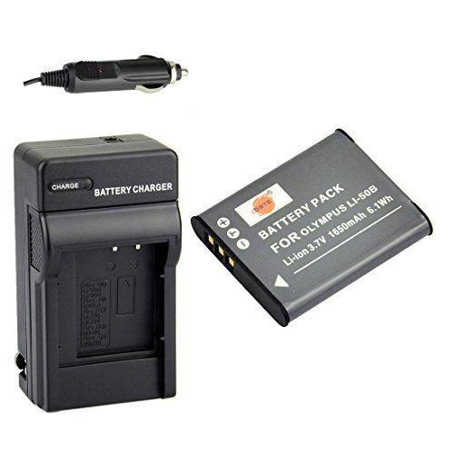 DSTE Li-50B Battery + DC16 Travel and Car Charger Adapter for Olympus Stylus 1010 1020 1030 9000 9010 SP-720UZ iHS 800UZ 810UZ SZ-15 16 iHS 20 30MR Stylus Tough TG-870 RZ10 RZ18 X70 Camera as D-LI92 (Li 50b Charger)
