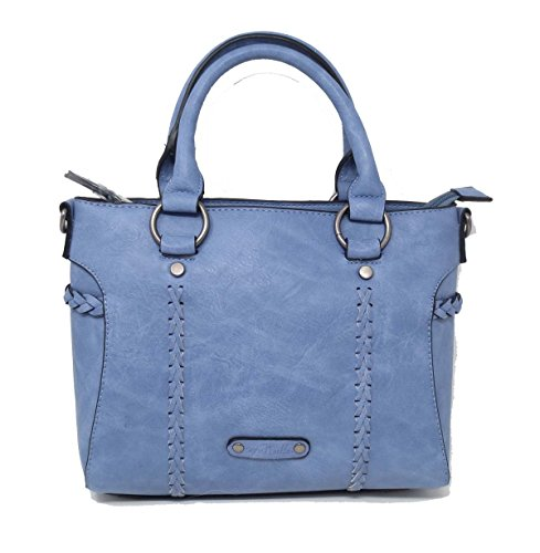 Denim Leather Satchel (Simply Noelle Braided Vegan Faux Leather Small Satchel Handbag (Lt Denim))