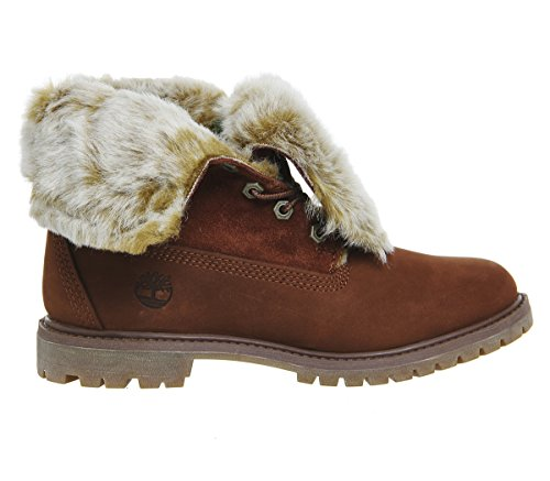 Brown Nubuck Stivali Down Medium Faux Timberland Fur Cognac Fold Ca19d2 wHqXgY8