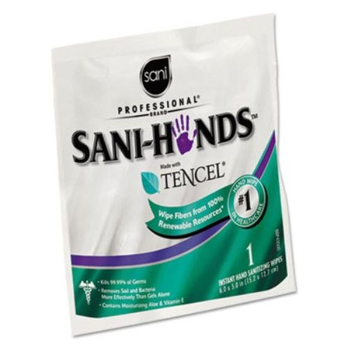Sani Professional� Sani-Hands Sanitizing Wipes with Tencel, White, 5 x 7 3/4