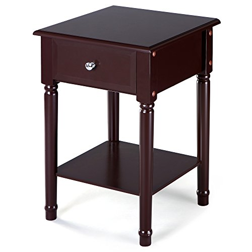 SONGMICS Nightstand End Table Bedside Corner Table with Solid Pine Wood Legs, Square Sofa Table with 1 Sliding Drawer and Shelf for Storage Mahogany Color URDN07BR - Drawer Table Bedside 1