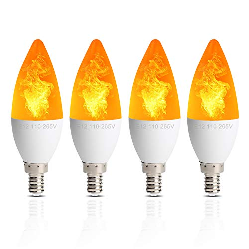 4 Pack LED Fire Flicker Flame Candelabra Light Bulb, Flickering Effect E12 Candle Base 2W 3 Lighting Modes Simulated Emulation/General/Breathing, for Indoor Outdoor Decorative, Torpedo Top