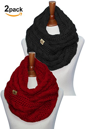 Basico Women Winter Chunky Wide Knitted Infinity Scarf Warm Circle Loop Various...