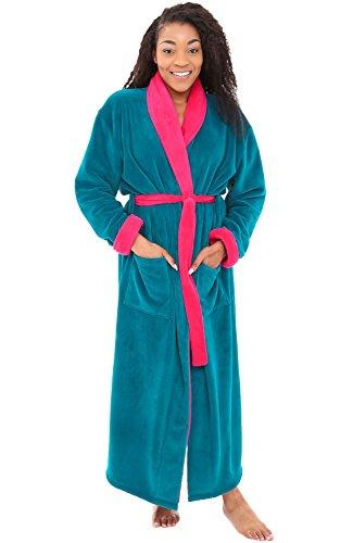 Alexander Del Rossa Women's Plush Fleece Robe, Warm Bathrobe, Small Medium Ocean Depth with Violet Pink Contrast (A0117ODVMD)
