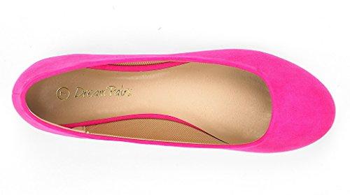 DREAM PAIRS Damen Sole Einfache Ballerina Walking Wohnungen Schuhe Fuchsie