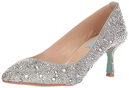 (Blue by Betsey Johnson Women's SB-JORA Pump Silver Satin 8.5 M)