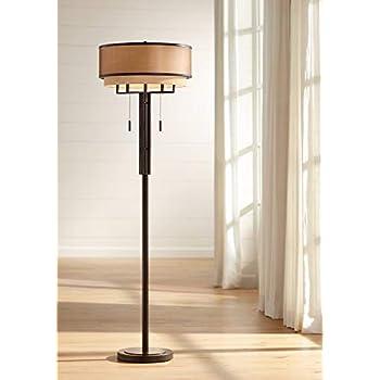 Tremont Mid Century Modern Floor Lamp Deep Bronze Tan Burlap Drum Shade For Living Room Reading