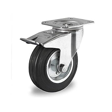 Rueda giratoria con tope 200 mm con llantas de acero