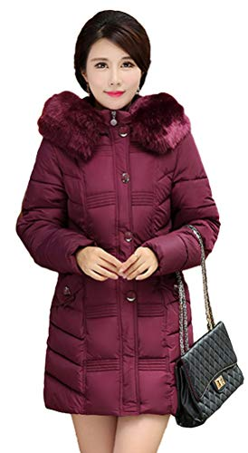 Manteaux Coton De Grande Veste Fausse Epaissie Hiver Slim Ghope Col Manches À Vêtements Pour Femmes Bordeaux Longues Fourrure qEagtyvw
