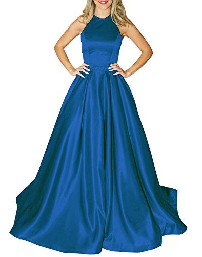 Beaded Empire Halter - MARSEN Halter Satin Long Prom Gown Beaded Open Back A Line Evening Formal Dress Dark Blue Size 10