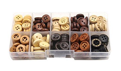 200 piezas 10 colores lindos niños ropa botones de madera costura artesanía botones con caja