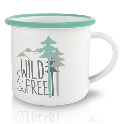 Enamel Mug with Green Rim, Camping Coffee Tea Cup with Tree Pattern and WILD FREE Character Design, Great or Outdoor or Picnic (6.6oz 350ml) (tree)