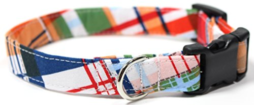 Gone Coastal Plaid, Summer Shirt Pattern Designer Dog Collar, Adjustable Handmade Fabric Collars (S - 3/4