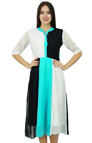 Bimba Womens klassischen Stehkragen Shift Kleid Tricolour Midi Sommer Chic Kleider Mehrfarben-3