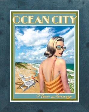 Amazon com : Ocean City NJ- Framed, Art-Deco Style Vintage
