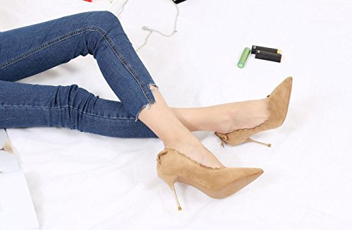 Wind MDRW Mouth Yellow Lady Olici Heels Single 36 Bow A Tip Fine Sexy Leisure Elegant Suede Ladies Shallow With 9Cm Work Spring Shoes RFw0wqdg