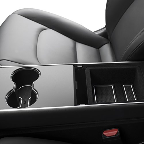 Custom Fit Cup and Center Console Liner Acessories for Tesla Model 3 2017 2018 2019 7-pc Set (White Trim)