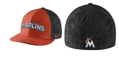Nike Men's Miami Marlins Dri Fit True Vapor Swoosh Flex Fitted Hat