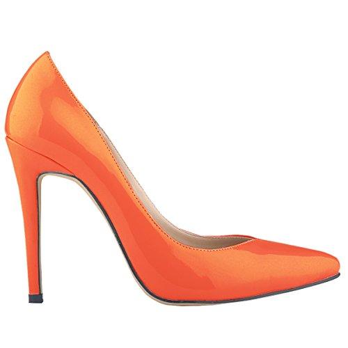Loslandifen Vrouwen Patent Pu Hoge Hakken Corset Stijl Werkpompen Schoenen Oranje