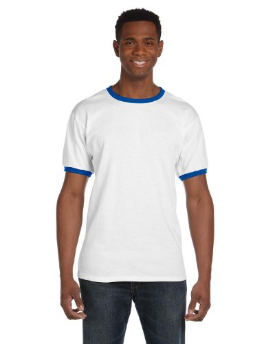 Anvil Youth Ringer T-Shirt - WHITE/ROYAL BLUE - S - Youth Heavyweight Ringer T-shirt