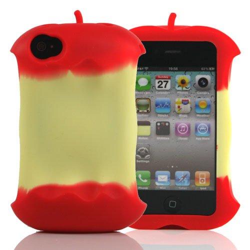 Rojo/Apple en forma de funda de silicona para Apple iPhone 4 ...