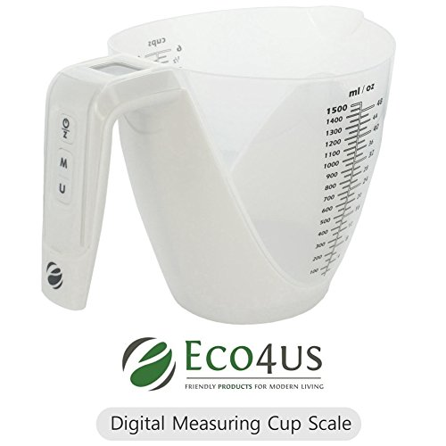 Digital Measuring Cup Scale - Eco4us - Dual Function - Digital Kitchen Scale with Removable Measuring Cup, 11 Pounds / 5 kg Capacity, Large Volume 1.5L Removable Measuring Cup