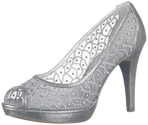 Adrianna Papell Womens Foxy Peep Toe Classic Pumps, Silver Sterling, Size ()