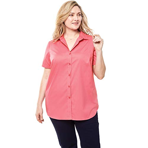 (Woman Within Women's Plus Size Perfect Short Sleeve Button Down Shirt - Tea Rose, 4X)