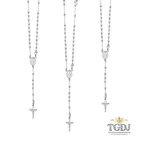 TGDJ 14K White Gold 3mm Moon-Cut Bead Miraculous Medal Rosary Necklace 18 inches by Top Gold & Diamond Jewelry