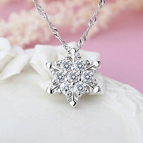 Women Vintage Blue Crystal Snowflake Zircon Flower Silver