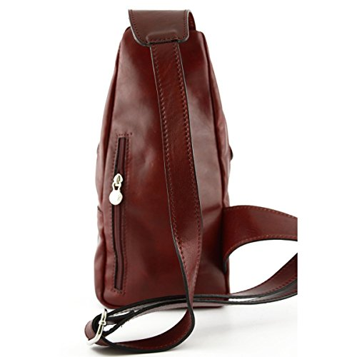 Echtes Leder Mono-Schulter Rucksack Mit Fronttasche Farbe Rot - Italienische Lederwaren - Rucksack