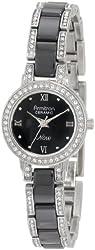 Armitron Women's 75/3919BKSV Swarovski Crystal Accented Silver-Tone and Black Ceramic Watch