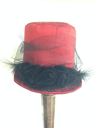 Elegant Red Mini Top Hat, Mad Hatter Mini Hat, Steampunk Fascinator Victorian Riding Hat