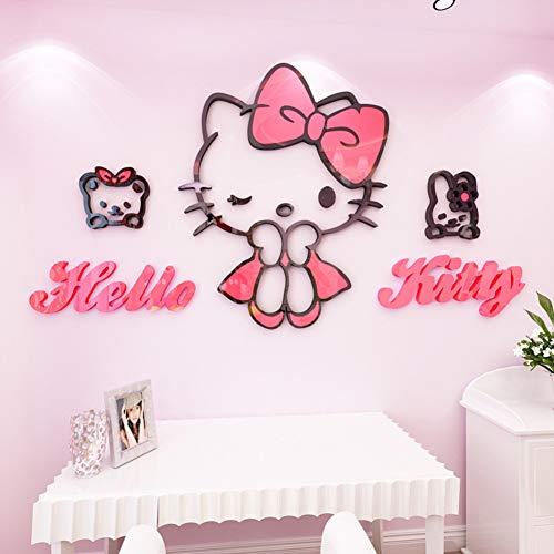 YOURNELO Kid's Decorative Cute Cartoon Hellokitty Livingroom Waterproof PMMA 3D Stereo Wall Sticker Peel & Stick Wall Art (I, ()
