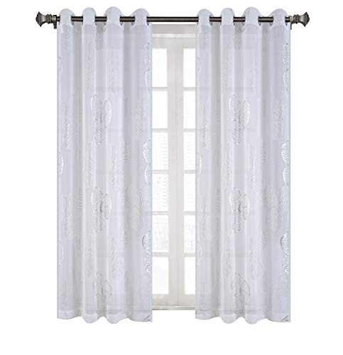 sgofais Grommet White Sheer Curtains Foil Print Silver Clover Voile Sheer Curtain Panels for Nursery Bedroom 52x63 Inch 2 Panels