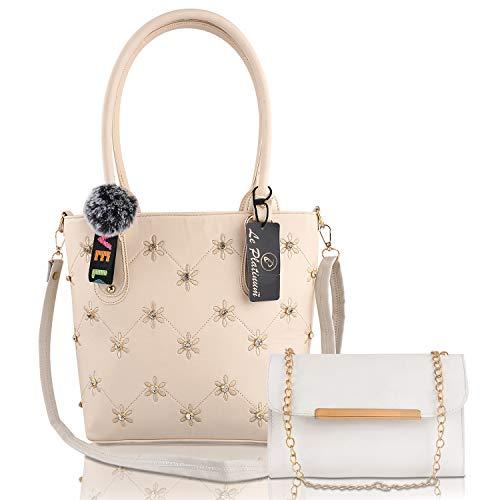 Le Platinum PU Leather Handbags For Women's Ladies Combo Of 2