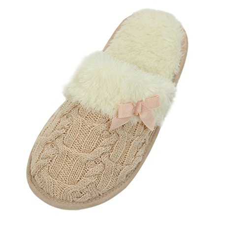Pink Trim Slip Ons - Home Slipper Women's Winter Warm Long Fur Trim Plush Knit Slip On Indoor House Spa Flat Slipper,Pink,US 7/8