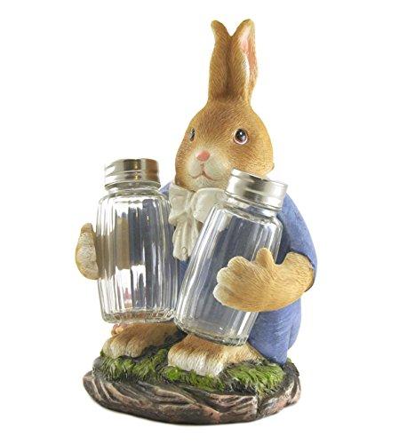 Rabbit Bunny Figure Sculpture Statue Tabletop Salt Pepper Shaker Set, 8