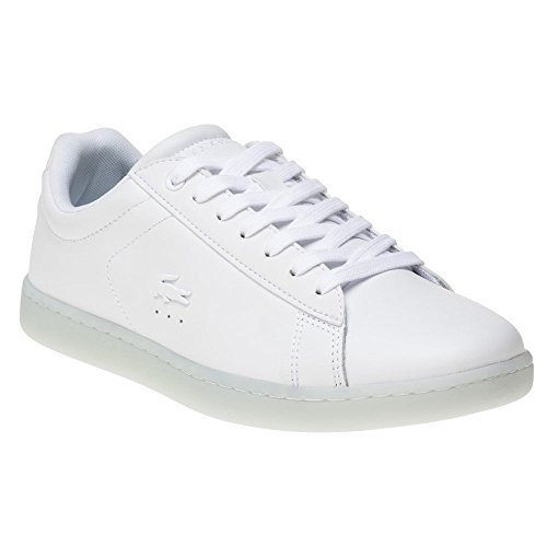 (Lacoste Womens White/Light Blue Carnaby Evo 118 3 Sneakers-UK 5)