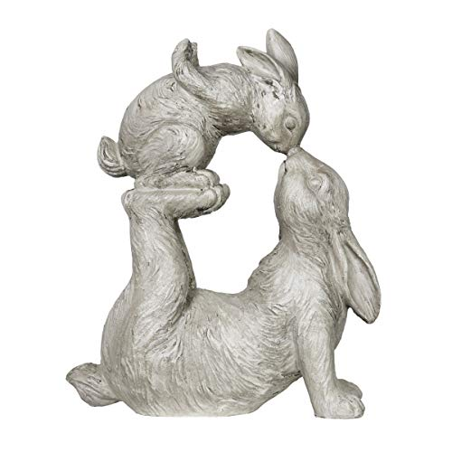 (Exhart Rabbit Sculpture, Rabbit Kissing Baby Bunny Garden Statue - Bunny Mini Figurine, Rabbit Statue, Bunny Decor, Rabbit Themed Whimsical Decor for Home Garden, 4.8