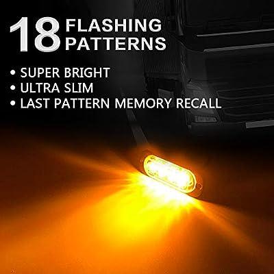 KaiDengZhe 4pcs 4LED Amber Ultra Thin Sync Feature Car Truck Warning Emergency Beacon Hazard Flash Caution Strobe Light Bar Surface Mount Grill Light 12-24V: Automotive