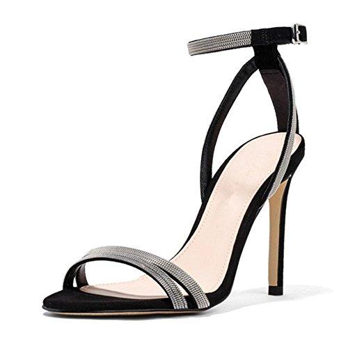 c215fc6cc4 Buena GAIHU mujer sexy señoras sandalias de tacón Stiletto zapatos peep toe  correas de tobillo hebilla