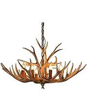 Gewei kroonluchter hars vintage hanglamp 6 lampen voor woonkamer kantoor eetkamer restaurant
