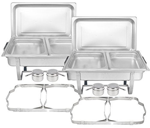 Insert Dish Chafing (Tiger Chef 8 Quart Full Size Stainless Steel Chafer with Folding Frame and Cool-Touch Plastic on Top (2, Full Size with 1/2 Inserts))