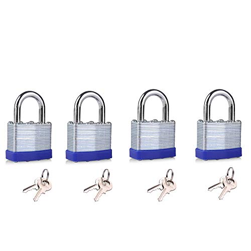 Keyed Alike Laminated Steel Lock 1-9/16-inch(40mm) Pin Tumbler Padlock with Hardened Short Shackle with Two Steel Keys 4packs 4 Pin Tumbler Steel Padlock
