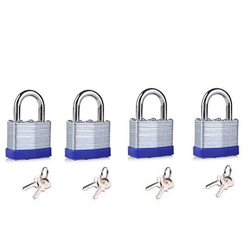 Keyed Alike Laminated Steel Lock 1-9/16-inch(40mm) Pin Tumbler Padlock with Hardened Short Shackle with Two Steel Keys 4packs ()